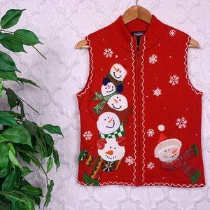 Vintage Christmas Snowman Sweater Vest
